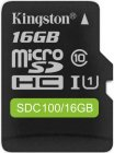 Карта памяти SDHC Micro Kingston microSDHC 16GB Class 10 (SDC100/16GB)