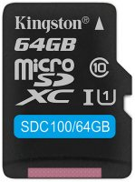 Карта памяти Kingston microSDXC 64GB Class 10 (SDC100/64GB)