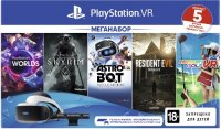 Шлем виртуальной реальности PlayStation VR + Words VR + The Elder Scrolls V Skyrim VR + Astrobot Rescue Mission VR + Resident Evil: Biohazard VR + Everybody's Golf VR (CUH-ZVR2)