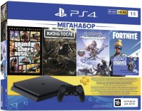 Игровая приставка PlayStation 4 1TB Grand Theft Auto V + Жизнь после + Horizon Zero Dawn + Fortnite + PS Plus на 3 месяца (CUH-2208B)