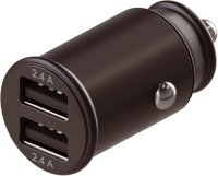 Автомобильное зарядное устройство InterStep Metal: 2xUSB, 24W, Black (IS-CC-2USBMSCHB-000B201)