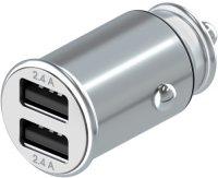 Автомобильное зарядное устройство InterStep Metal: 2xUSB, 24W, Silver (IS-CC-2USBMSCHG-000B201)