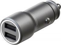 Автомобильное зарядное устройство InterStep Metal: 2xUSB + QuickCharge 3.0, 30W, Dark Grey (IS-CC-MQCHSG30W-000B210)