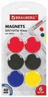 Магниты для досок Brauberg разноцветные, 40 мм, 6 шт (230757)