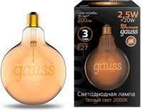 Светодиодная лампа Gauss Filament G125 2,5W 200lm 2000К Е27 Golden (175802003) лампочка gauss 175802003 words