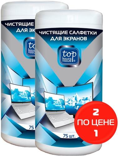 """Салфетки для экрана Top House промо-набор """"1+1"""" 2х75 шт (393538)"""