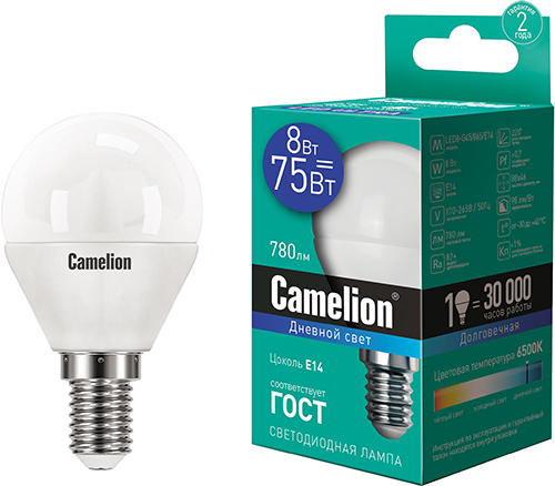 Светодиодная лампа Camelion LED8-G45/865/E14