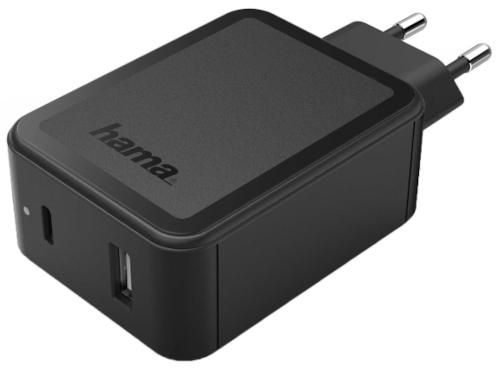 Сетевое зарядное устройство Hama PD/QC 2х3A Black (00183321)