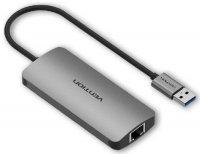 Разветвитель для компьютера Vention USB 3.0 M/Gigabit Ethernet + OTG (CHDHA)