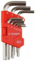 Набор имбусовых ключей Зубр Г-образные, 1.5-10 мм, 9 шт (27460-1_z02)