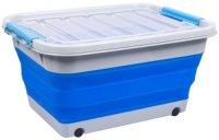 Корзина для белья Bradex складная, на колесах с крышкой 30 л, синий