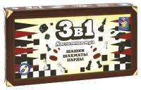 Детский игровой набор 1toy Т12058 Игра настольная 3в1 Шашки,шахматы,нарды rovertime нарды шашки витязь на распутье