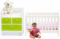 Набор кукольной мебели LUNDBY Кровать с пеленальным комодом (LB_60209900) кукольные домики и мебель lundby кукольная мебель кровать с пеленальным комодом
