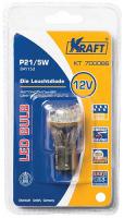 Лампа автомобильная Kraft P21/5W BAY15d 12/24v 12 LEDs White (KT 700066) лампа автомобильная светодиодная kraft p21w 12 24v 1 5w kt 700063 1 шт